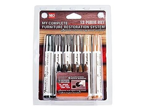 12 Pc Wood Stain Markers Set   Furniture Restoration U0026 Repair Marker Pens  W/ Filler