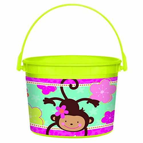 Birthday Party Favour Bucket, 1 Pieces, Made from Plastic, Pink/Green, 4 1/2