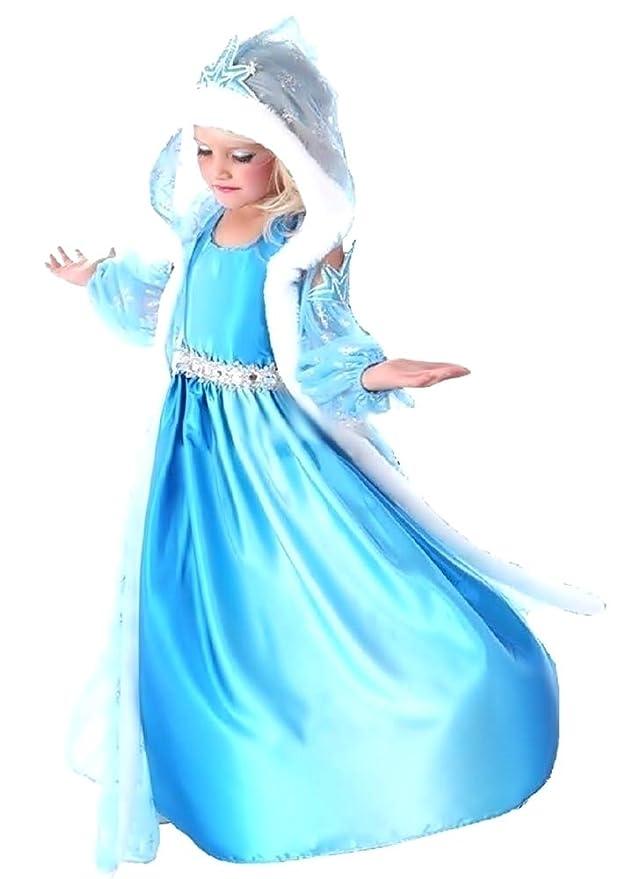 Disfraz de Elsa de Frozen - Niña - Capucha - Halloween - Carnaval - Idea regalo original Taglia 100-2-3 anni turquesa