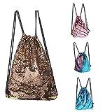 Cheap CHANNON Mermaid Drawstring Bag, Magic Reversible Sequin Backpack, Fashion Glittering Dance Bag, Fashion Bling Shining Bag