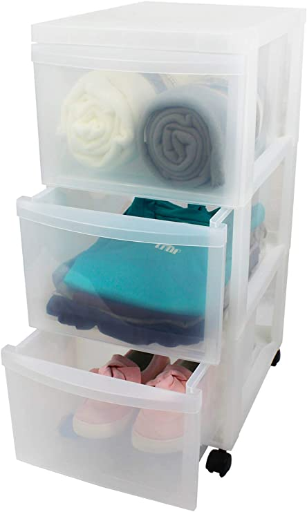Iris tama/ño mediano Carrito de almacenamiento con 3 cajones color blanco y transparente
