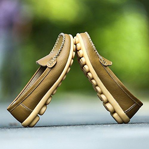 SCIEN Frauen Casual Loafers Echtes Leder Driving Mokassins Slip-On Flache Schuhe Khaki