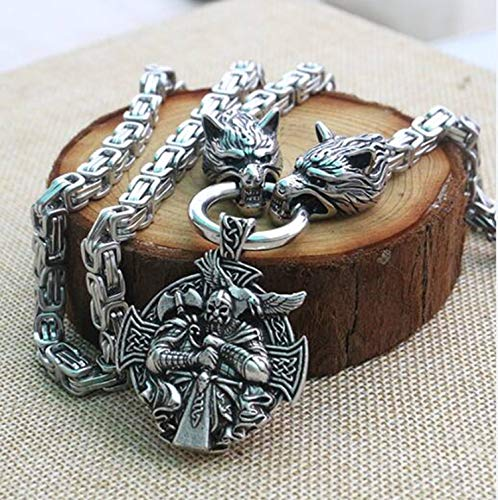 Men stainless steel necklace viking wolf head with, used for sale  Delivered anywhere in USA