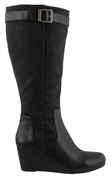 6106979138ecb Amazon.com | LifeStride Women's, Navia Wide Shaft Wedge Boots Black 11 M |  Boots
