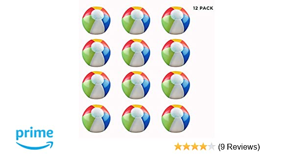 Games Pack of 12 Luaus Party Favors Inflatable 6 Multi-Color Rainbow Beach Balls Pool Parties Decor