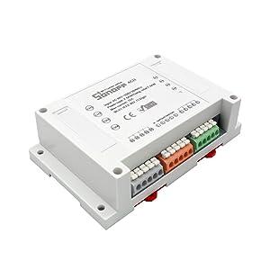 Sonoff 4CH 4 Canales Din Rail Mounting Conmutador WiFI para Casa Inteligente DIY,Control Remoto de Cuatro Aparatos independientes de forma independiente.