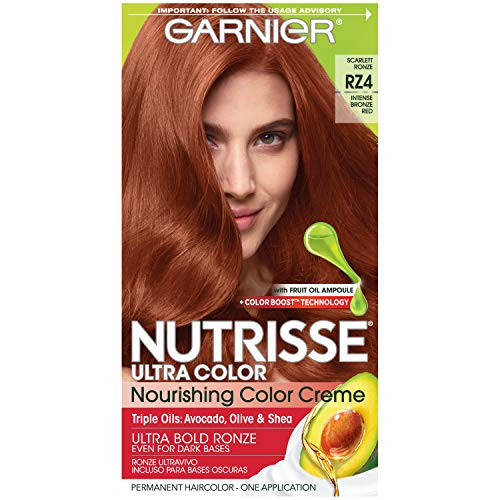 Garnier Nutrisse Ultra Color Nourishing Permanent Hair Color Cream, RZ4 Intense Bronze Red Scarlet Ronze (1 Kit) Red Hair Dye (Packaging May Vary)