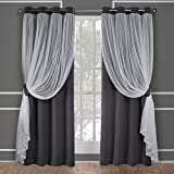 Exclusive Home Curtains Catarina Woven Blackout Grommet Top Panel Pair, Black Pearl, 52x84, 2 Piece