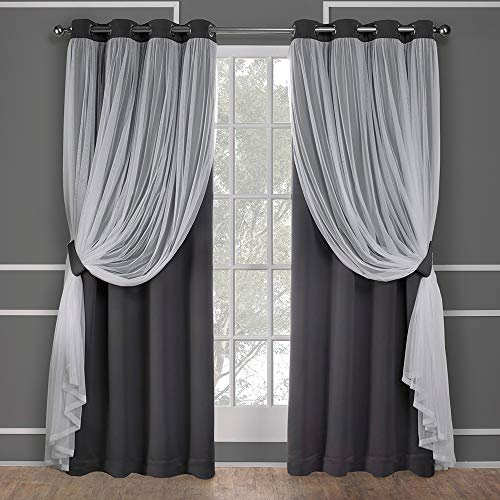 Contemporary Panel - Exclusive Home Curtains Catarina Layered Solid Blackout and Sheer Window Curtain Panel Pair with Grommet Top, 52x84, Black Pearl, 2 Piece