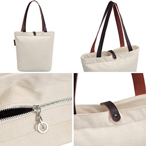 So'each Bolsa de tela y de playa, color natural (beige) - HB-UK-ODJ-32