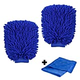 NANHONG Wash Mitt, ShowTop 2 Packs Superfine Fiber Chenille Wash Glove Extral Large with FREE 27.55 Inch Towel Poloshing Cloth