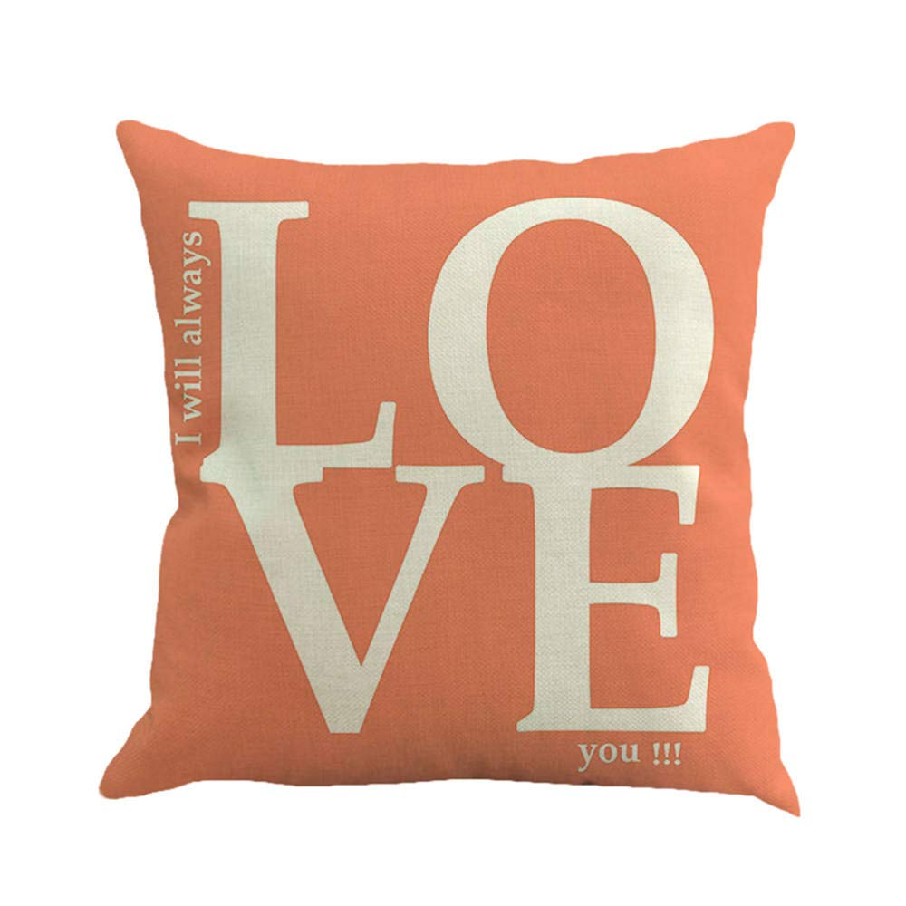 Valentine's Day Pillow Cover LOVE Letters Printing Pillowcase Valentine's Day Decor Square Cotton Linen Cushion Cases 18x18 inch for Lover Gift Home Car Daily Use (C)