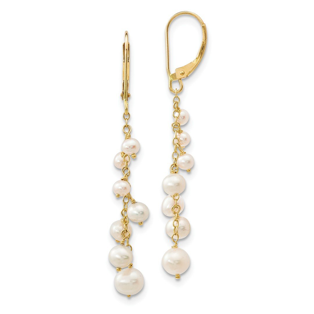 ICE CARATS 14k Yellow Gold 3 5mm White Rice Freshwater Cultured Pearl Leverback Earrings Lever Back Drop Dangle Fine Jewelry Ideal Mothers Day Gifts For Mom Women Gift Set From Heart