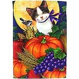 Lantern Hill Adorable Fall Cat Garden Flag Yard Decoration; Cute Kitten Pumpkins, Full Moon Grapes; 12 inches 18 inches