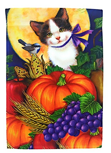 Adorable Fall Cat Garden Flag Yard Decoration; Cute Kitten w