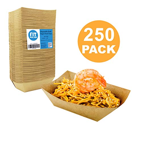 [250 Pack] 0.50 lb Heavy Duty Disposable Kraft Brown Paper Food Trays Grease Resistant Fast Food Paperboard Boat Basket for Parties Fairs Picnics Carnivals, Holds Tacos Nachos Fries Hot Corn Dogs