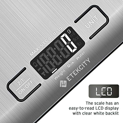 Etekcity Food Kitchen Scale, Digital Grams and Ounces for Weight Loss, Baking, Cooking, Keto and Meal Prep, Small, 304…