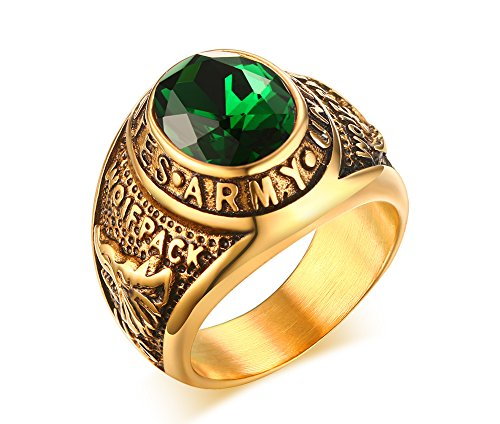 VNOX Stainless Steel Green Rhinestone US Army Ring for Men,Gold Plated,Size 10
