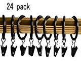 olyclass 24-pack Black Metal Curtain Rings with Clips (Black)