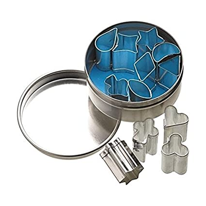 Set Of 12 Mini Metal Cookie//Icing Cutters In Storage Tin 1.5cm