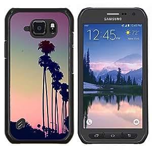 LECELL--Funda protectora / Cubierta / Piel For Samsung Galaxy S6Active Active G890A -- Los Angeles LA púrpura puesta de sol palmeras --