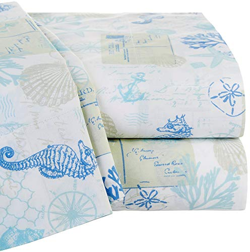 Panama Jack Wave Writer Sheet Set Queen White/Blue
