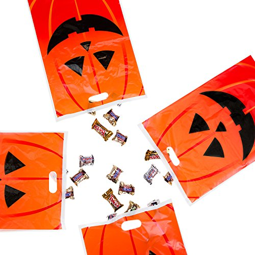 Jack-O-Lantern Orange Pumpkin Face Halloween Trick or Treat Plastic Candy Bags for Party Favors, Snacks, Decoration, Children Arts & Crafts, Event Supplies (50 Bags)