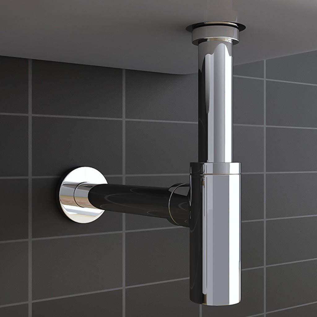 Chromium Basin Sink Waste Trap Drain Tube Kit Height Chrome,Cylindrical LIUguoo Brass Round Bottle P Trap Tube