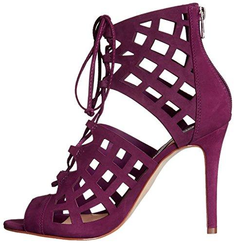Zapatos morados Tacón de aguja formales Calaier para mujer B1AW7Ct