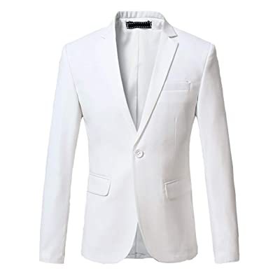 OUYE Men's Solid 1 Button Back Vent Blazer at Amazon Men's Clothing store