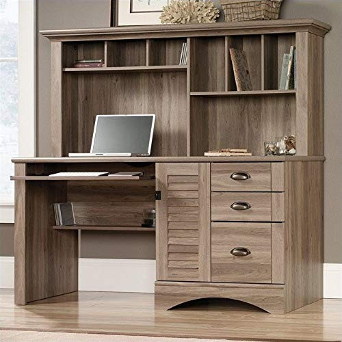 Sauder 415109 Harbor View Computer Desk with Hutch, L: 62.21