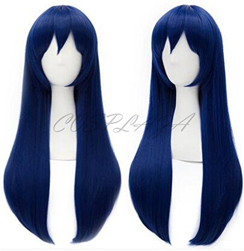 COSPLAZA Anime Cosplay Wigs Straight Long Blue Hair Heat Resistant (Blue) ()