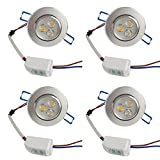 LED Ceiling / Downlight, 3w Warm White Light,3000K, Cut Hole Size,Lighting Angle Adjustable LED Ceiling Lamp Spot Light ,with LED Driver,Pack of 4 ,120V,