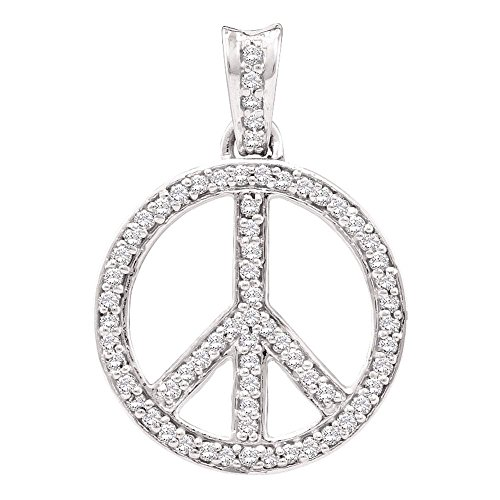 Sonia Jewels 10K White Gold Dangle Drop Peace Sign Channel Set Round Diamond Pendant - (1/4 cttw)