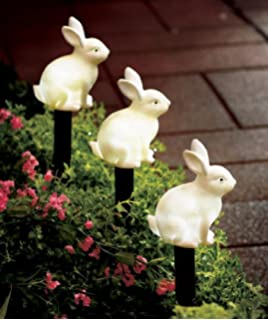 Set Of 3 Solar LED Lighted Easter Bunny Outdoor Garden Stake Pathway  Driveway Garden Yard Springtime