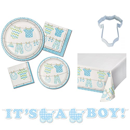 Bundle of Joy- Boy Baby Shower Ultimate Dispsable Tableware Party Kit, Serves 16, Bundle includes large and small plates and napkins, table cover, banner, onesie cookie cutter and bonus recipe for $<!--$16.95-->
