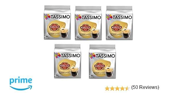 TASSIMO Marcilla Café Largo - 5 paquetes de 16 cápsulas: Total 80 ...