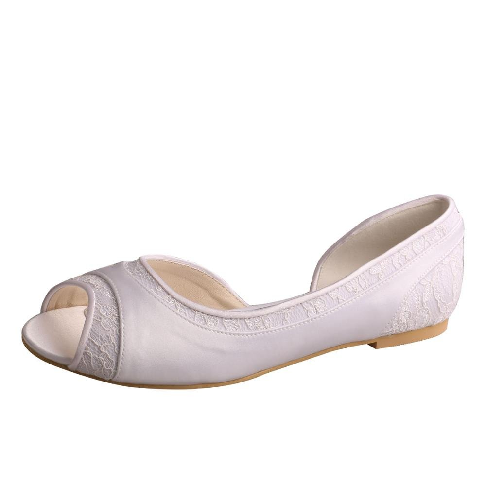 Wedopus MW060 D'Orsay Satin and Lace Open Toe Ballet Flat Women Wedding Shoes for Bride Szie 9 White