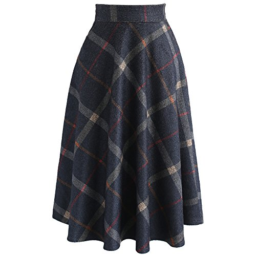 Chicwish Women's Navy Check Print Wool-Blend A-Line Midi Skirt, Blue, Small - Print Wool Blend