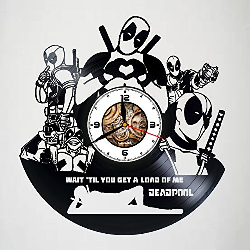 Deadpool - FILM - Handmade Vinyl Wall Clock - Original gift for any occasion - unique birthday, anniversary, Valentine's day gifts - Wall décor Ideas for any space - Customize your clock !]()