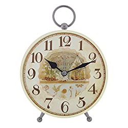 Konigswerk Vintage Retro Old Fashioned Decorative Quiet Non-ticking Sweep Second Hand, Quartz Analog Large Numerals Desk Clock, Battery Operated, Loud Alarm (AC120G)