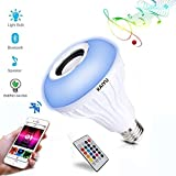 KAIYU LED Bluetooth Light Bulb Speaker - 6W E27 RGB Changing Lamp Wireless Stereo Audio with 24 Keys Remote Control