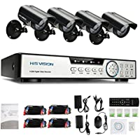HISVISION 8-Channel HD 1080P Lite CCTV Video Security DVR Surveillance Camera Kit +4pcs Indoor/Outdoor 720P 1.0MP Weatherproof Cameras P2P QR Scan Motion Detection Alarm HDMI Output - NO HDD