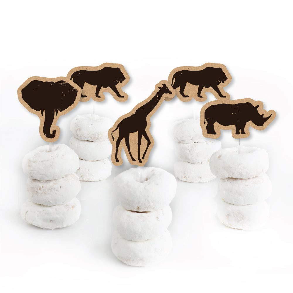 Wild Safari - Dessert Cupcake Toppers - African Jungle Adventure Birthday Party or Baby Shower Clear Treat Picks - Set of 24 by Big Dot of Happiness (Image #2)
