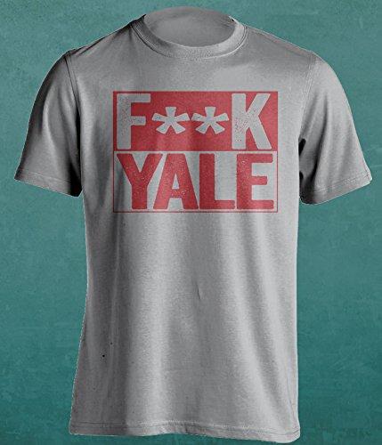 F**K Yale - Harvard Crimson Fan T-Shirt - Censored Version - Box Design - Mens Grey S