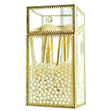 Vintage Gold Mirrored Makeup Brush Holder, Clear Glass Cosmetic Storage Box with White Pearls Dust Free Eyeliner Lipstick Pencils Display