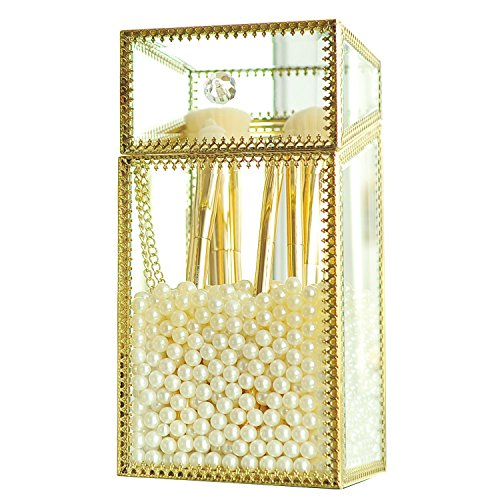 Mirrored Makeup Brush Holder, Clear Glass Cosmetic Storage Box with Lid/Dust Free Eyeliner Lipstick Pencils/Perfume Display Vanity Dresser Decor (Gold-Medium)