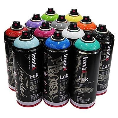 Ironlak 400ml Popular Colors Set of 12 Graffiti Street Art Mural Spray Paint