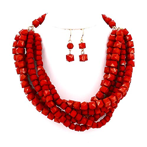 Women Jewelry Red Yellow Layered Beaded Statement Necklace and Earrings Set (Red)