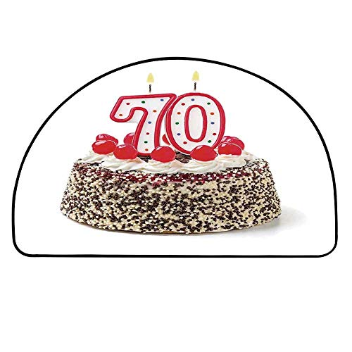 YOLIYANA 70th Birthday Decorations Half Round Door Mat,Birthday Cake with 70 Number Candles Sprinkles Party Photo Image for Indoor Outdoor,39.3